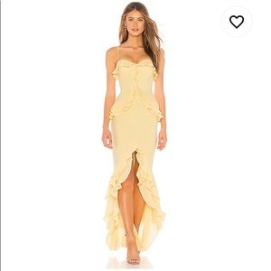lovers + friends cream yellow melissa gown